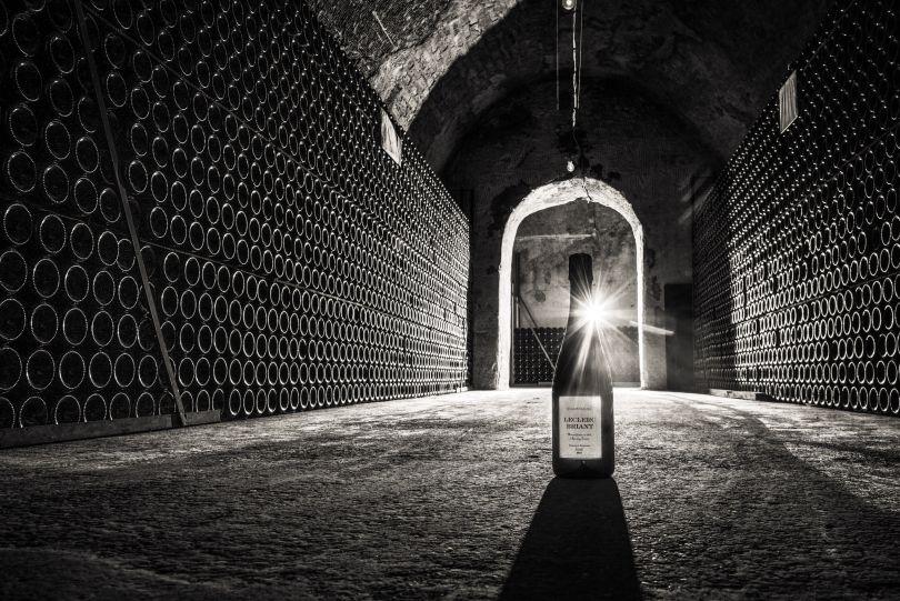 Champagner Flaschenlager im Keller von Leclerc Briant